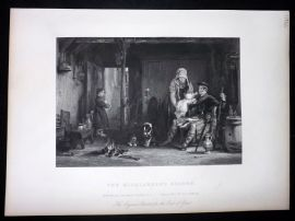 After David Wilkie C1870 Antique Print. The Highlander's Return
